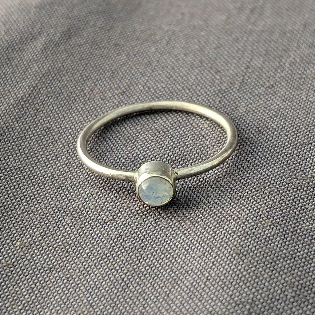 Opaline Glass Cabochon Stacking Rings, Size 6.5