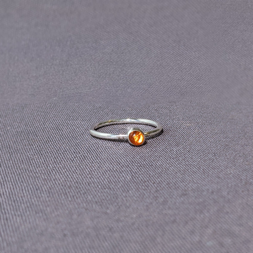 Orange Glass Cabochon Stacking Ring, Size 6