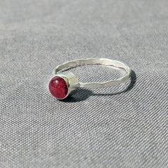 Pink Glass Cabochon Hammered Band Stacking Rings, Size 7