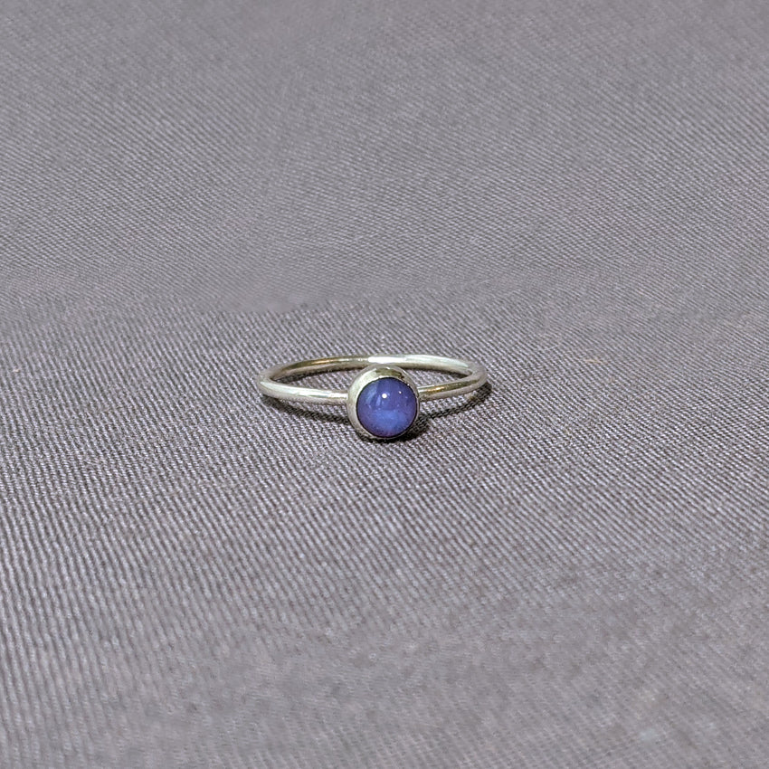 Purple Glass Cabochon Stacking Ring, Size 6