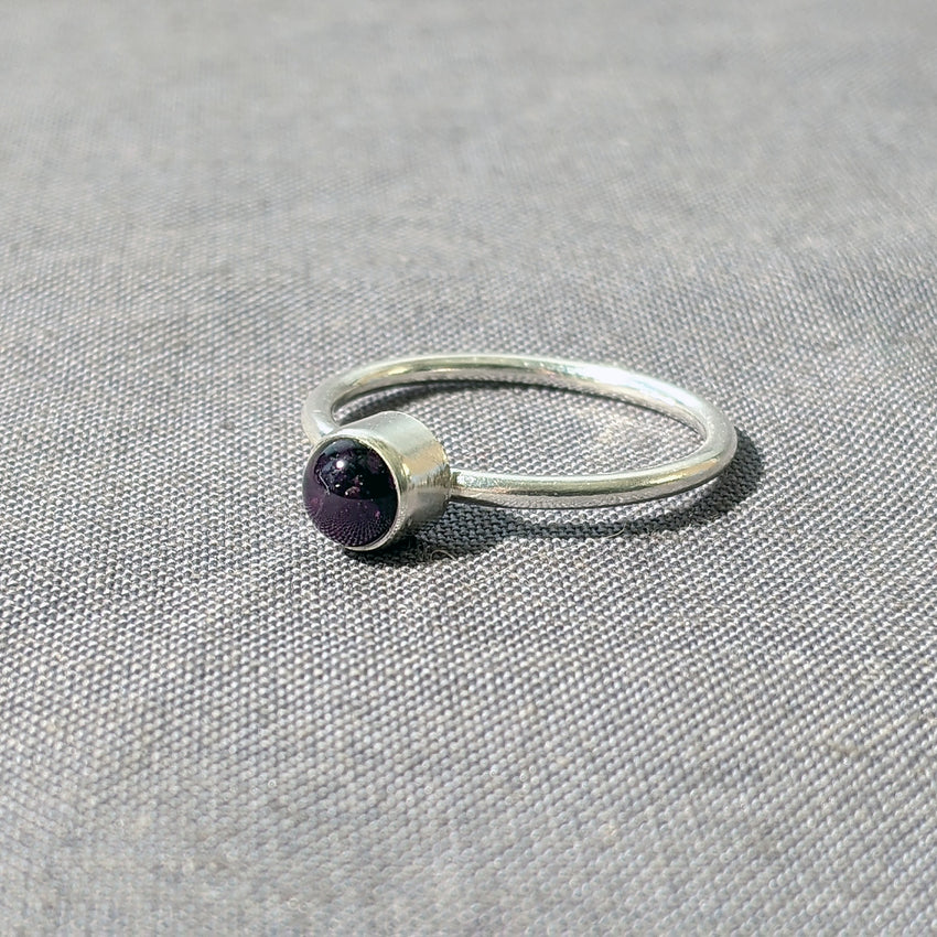 Purple Glass Cabochon Stacking Ring, Size 7