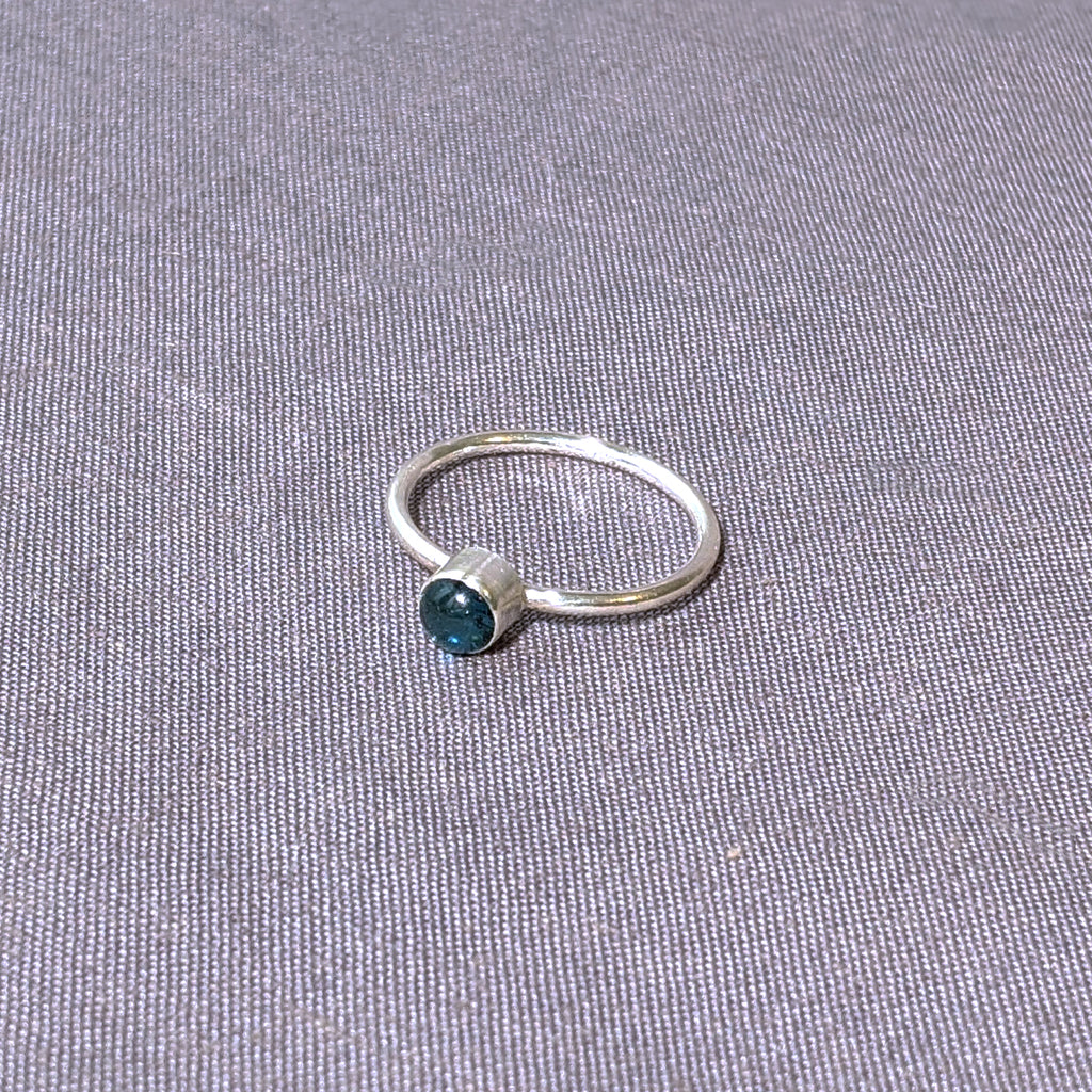 Sea Blue Glass Cabochon Stacking Ring, Size 8