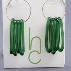 Dark Green Glass Loop Earrings