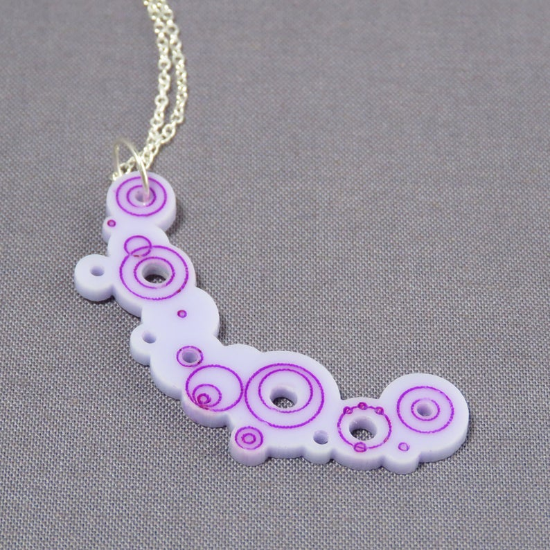 Bubble Pendant Large Lavender Acrylic with inlay