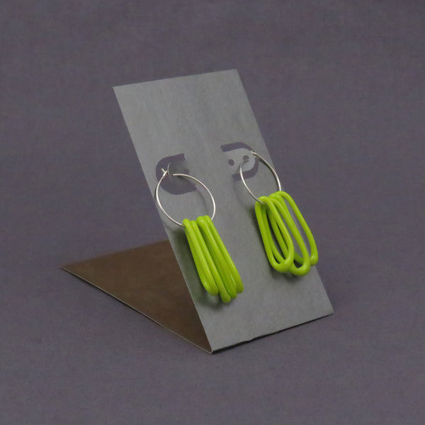 Spring Green Glass Loop Earrings, opaque