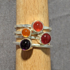 Orange Glass Cabochon Hammered Band Stacking Ring, Size 7