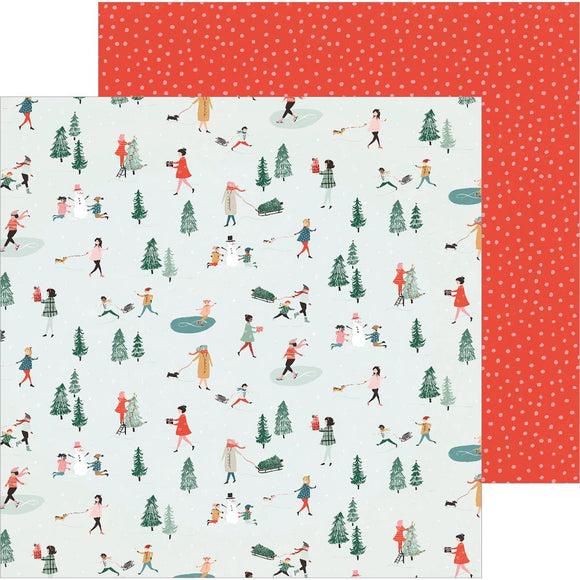 Papel con Diseño 12x12 - Merry Days - Frosty Day - Crate Paper