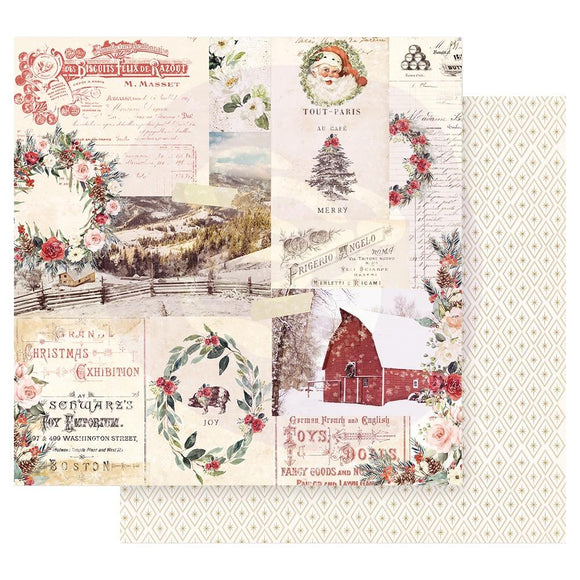 Papel con Diseño 12x12 - Christmas Joy - Christmas in the Country - Prima Marketing