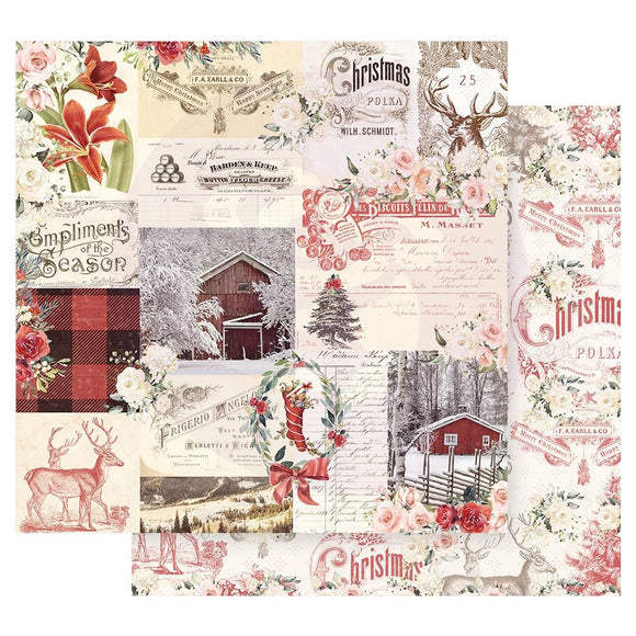 Papel con Diseño 12x12 - Compliments Of The Season - Christmas in the Country - Prima Marketing