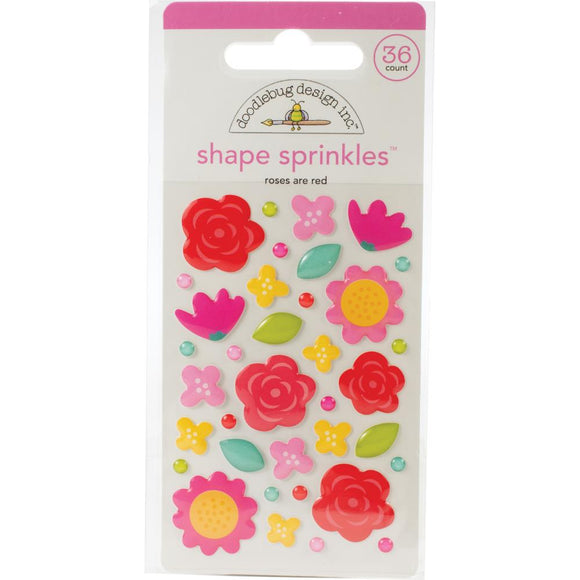 3D Stickers - Roses Are Red - Love Notes - Doodlebug
