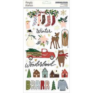 Chipboard Stickers 6x12 - Winter Cottage - Simple Stories
