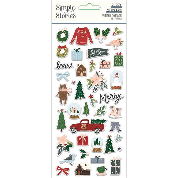 Puffy Stickers - Winter Cottage - Simple Stories