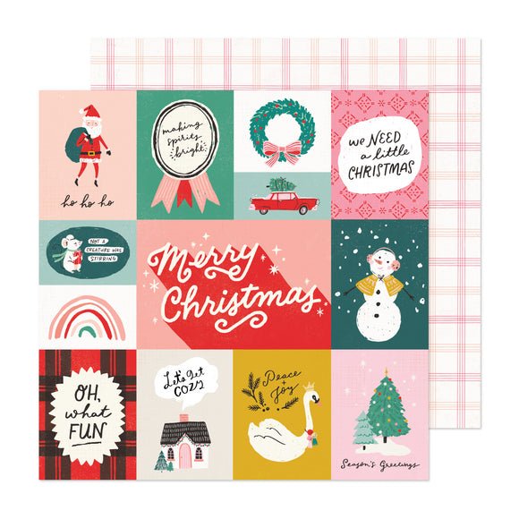 Papel con Diseño Doble Cara 12x12 - Oh What Fun - Hey Santa - Crate Paper