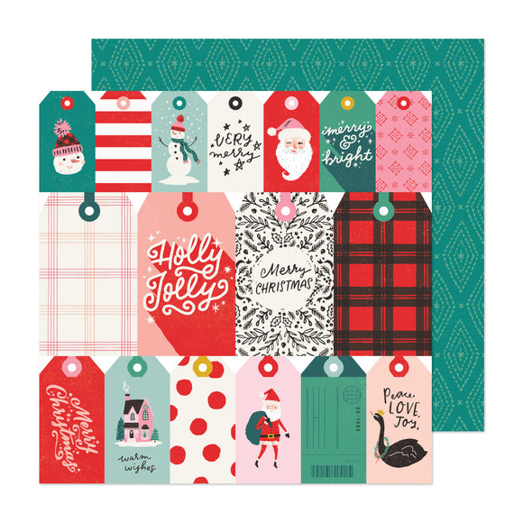 Papel con Diseño Doble Cara 12x12 - Be Jolly - Hey Santa - Crate Paper