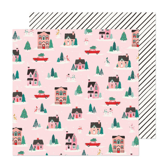 Papel con Diseño Doble Cara 12x12 - City Sidewalks - Hey Santa - Crate Paper