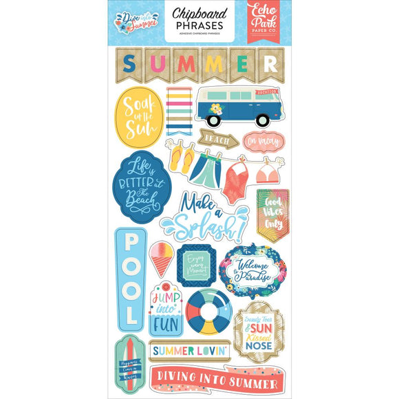 Chipboard Stickers - Frases - Dive into Summer - Echo Park