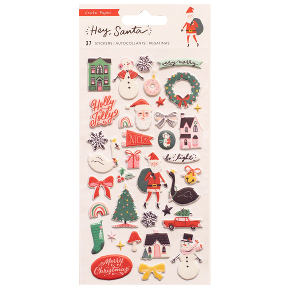 Puffy Stickers - Hey Santa - Crate Paper