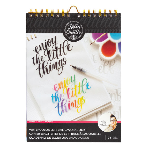 Watercolor Lettering Workbook - Palabras - Kelly Creates