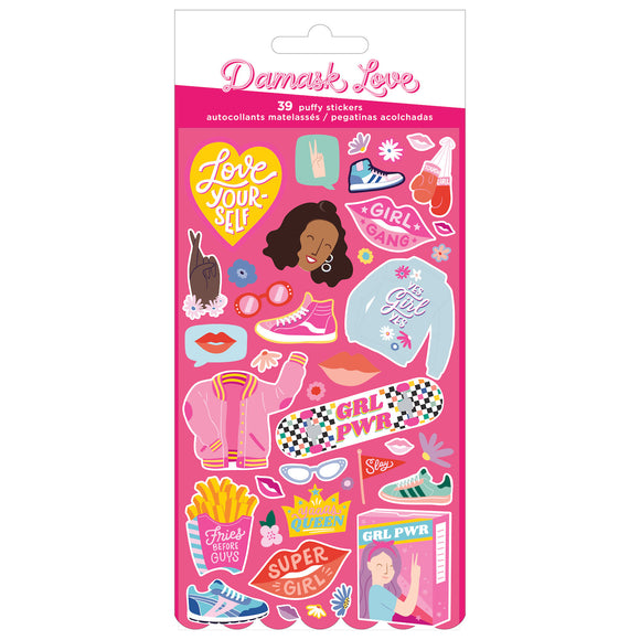Stickers Puffy - Girl Power - Damask Love