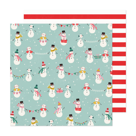 Papel con Diseño Doble Cara 12x12 - North Pole - Hey Santa - Crate Paper