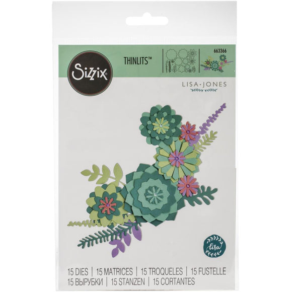 Sizzix Thinlits - Succulent Wreath - Flores