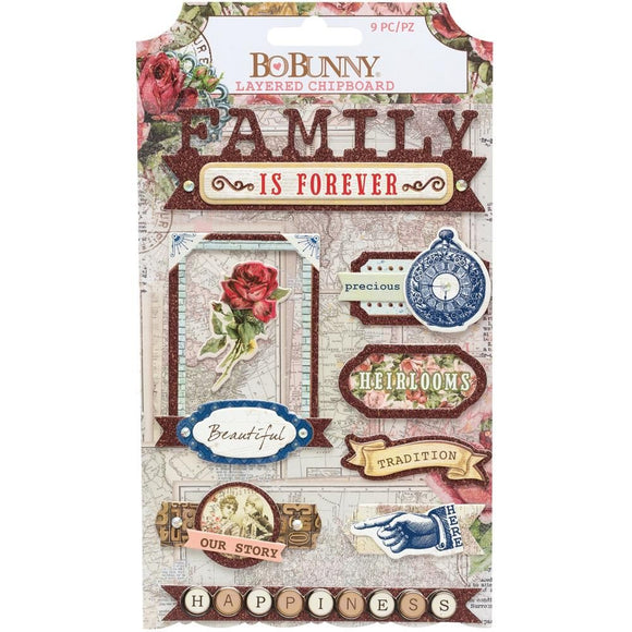 Chipboards - Family Heirlooms - BoBunny