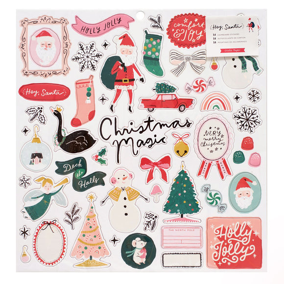 Chipboard Stickers 12x12 - Hey Santa - Crate Paper
