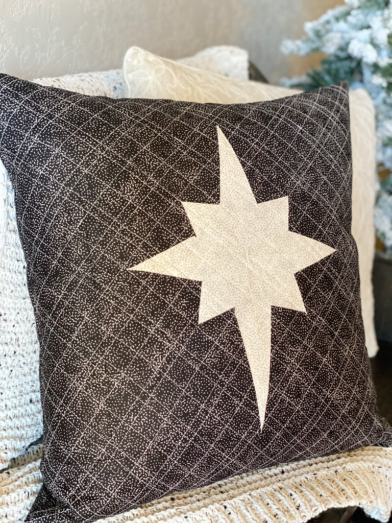 Quilted pillow, pillow pattern, star of bethlehem