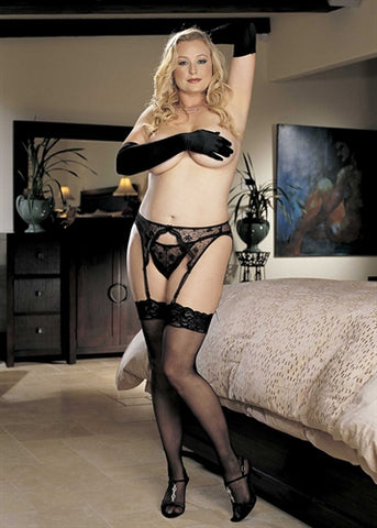 Lace Top Thigh High - Queen Size - Black HOT-X90026BLK