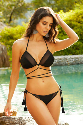 Bikini Bottom W / Side Ties - Extra Large- Black STM-70001BBLKXL