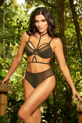 Bikini Top W / Fishnet Inserts - Olive - Medium STM-70009TOLM