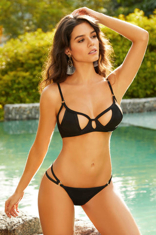Cutout Cups Bikini Top - Black - Medium STM-70007TBLKM