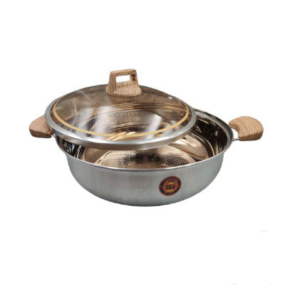 Stainless Steel Steamboat Pot With Amber Glass Lid