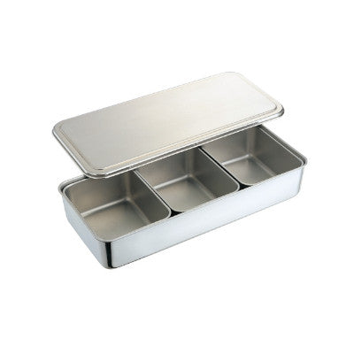 Stainless Steel 3 Compartment Condiment Container With Cover