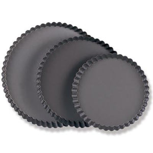 San Neng Hard Anodized Aluminium Round Fluted Tart Mould, Fixed Base