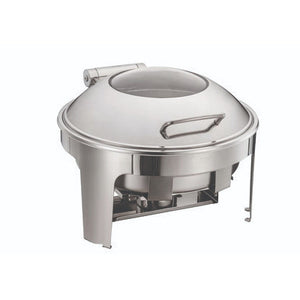 Gourmet Steel Stainless Steel Round Chafing Dish With Insert & Frame, Stainless Steel Clear Lid