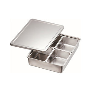 Stainless Steel 4 Compartment Condiment Container, Rectangular
