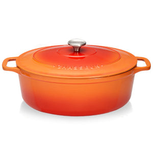 Chasseur Cast Iron Oval Casserole With Cover, Orange With Cream Inner Layer