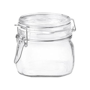 Bormioli Rocco Fido Square Glass Jar, Lock Cover