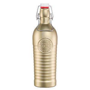 Bormioli Rocco Officina Glass Bottle With Cap, Gold