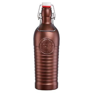 Bormioli Rocco Officina Glass Bottle With Cap, Bronze