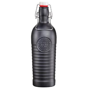 Bormioli Rocco Officina Glass Bottle With Cap, Charcoal Grey
