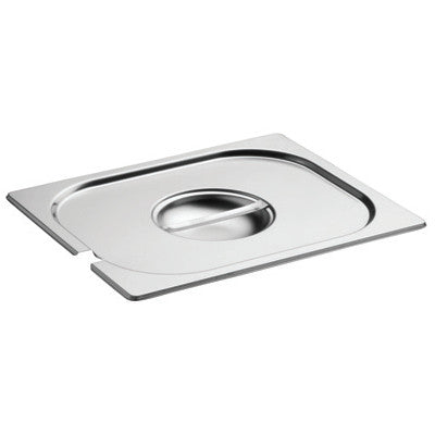 Gourmet Steel 201 Stainless Steel Food Insert Pan Notched Cover Only, Size 1/1