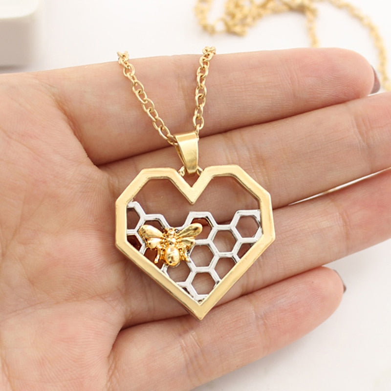 Bee with Honeycomb Necklace