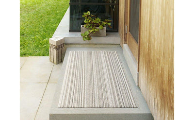 Chilewich Indoor/Outdoor Tufted Shag Mat Skinny Stripe Birch