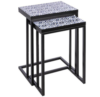 Blue & White Geo-Pattern Nesting Side Tables, Set of 2