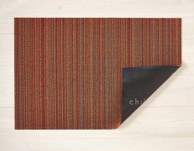 Chilewich Indoor/Outdoor Tufted Shag Mat Skinny Stripe Orange