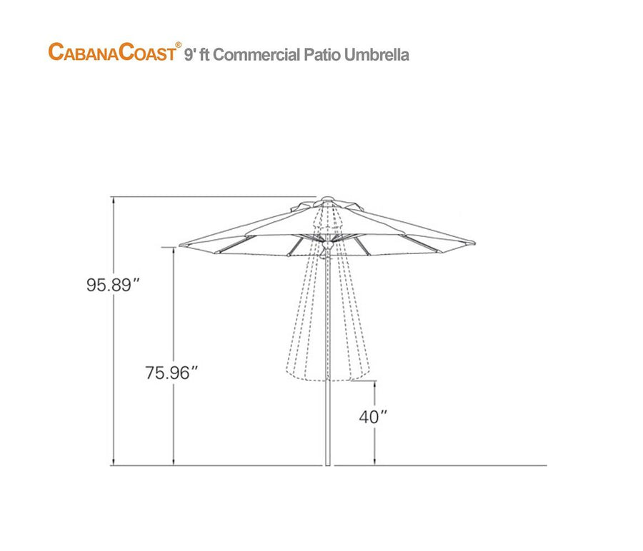 9' Round Commercial Patio Umbrella