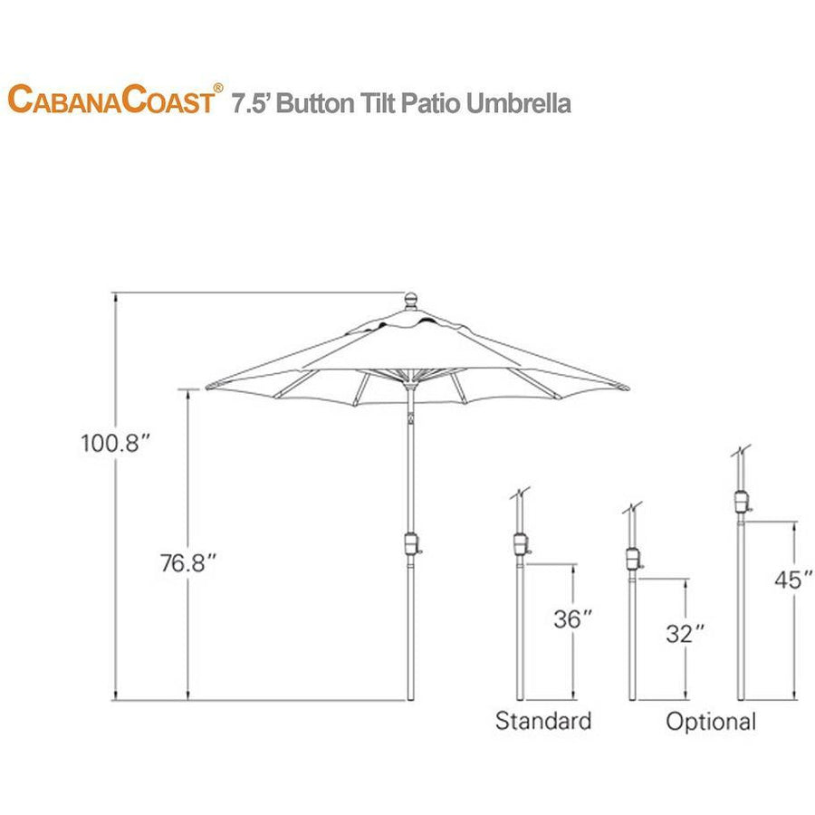 7.5' Round Button Tilt Patio Umbrella