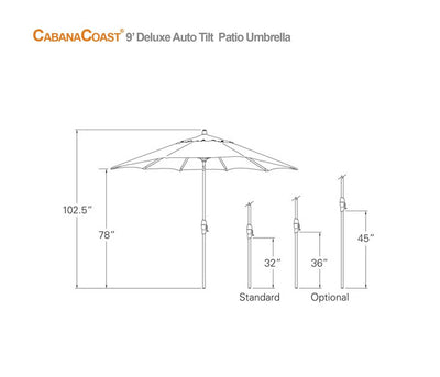 9' Round Auto Tilt Patio Umbrella